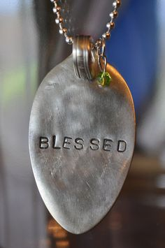 """""""Blessed"""" stamped spoon necklace"""