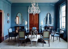 blue dining room - this pictures rekindles my love for that French blue color....swoon