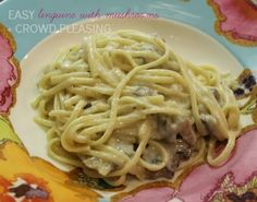Linguine with Mushrooms - looks delicious - might add chicken too