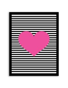Download and print this free printable striped heart wall art for your home or office!