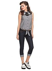 HOTTOPIC.COM - Chambray Swallow Tie Front Top
