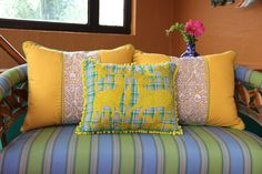 Bright Yellow on green and pink plaid hand embroidered Otomi Sham Scar – Casa Otomi  Mexico, Tenango, wedding, textile, mexican suzani, embroidery, hand embroidered, otomi, fiber art, mexican, handmade,  casa, decor, interior, frida, kahlo, folk,  folk art, house, home, puebla, las flores, cushion, serape, preppy, gingham, polka dots, pink, lime, green, lily pulitizer, pouf, elle decor, boho, style, bestey johnson, lily pultizer, interior, stripes, southern living, southern style,