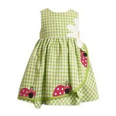 Vestido verde limón para niña. ^_^