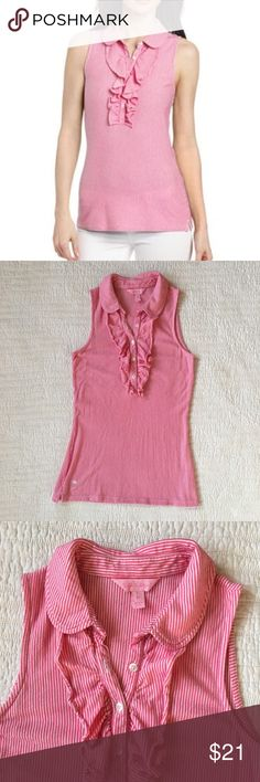 "Lilly Pulitzer Pink Stripe Drew Tank Top w Ruffles Sweet Drew top from Lilly Pulitzer in a pink and white stripe with ruffles at the front. Polo collar. Button front. Palm logo at front bottom. In very good preowned condition with some minor wash wear. Size XS. Appx 30/32"" bust, 24"" length. Lilly Pulitzer Tops Tank Tops"