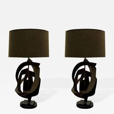 Pair of Brutalist Blackened Steel Lamps offered by Craig Van Den Brulle on InCollect Brutalist Design, Lamp Design, Pairs, Steel, Lighting, Furniture, Home Decor, Light Bulb Drawing, Decoration Home