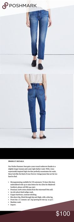 🌊Madewell perfect vintage jean **Active bids on eBay so unavailable now on Posh. If still interested please purchase through there. **  The most amazing pair of jeans, but sadly they are a tad too big on me. These have the amazing fit and feel of a great pair of vintage jeans, minus the hard hunting through vintage stores. They are 100% cotton but are not stuff like most cotton jeans and are really comfy to move around in. Worn only once and are in perfect shape!! These sold out super fast…