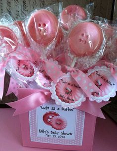 Chocolate Cute as a Button Lollipop Favors for a by ourdesigner, $22.50