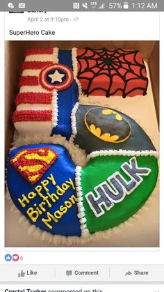 I think super hero's would be perfect for Noah's next birthday :) Avengers theme shape of 1 Avengers Birthday, Batman Birthday, Fourth Birthday, Superhero Birthday Party, 6th Birthday Parties, Birthday Fun, Super Hero Birthday, 5th Birthday Ideas For Boys, Birthday Cakes