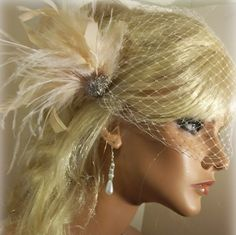 Wedding Fascinator Bridal Veil French Net Veil by kathyjohnson3
