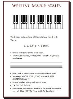 Major Scales: An introduction to HOW major scales are constructed and Worksheets   $