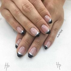 For nail art that feels modern yet minimal, choose a double dipped black and silver tip.@nailartbysi... - Provided by Harper's Bazaar