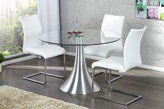 """Diesem stilvollen Esstisch """"CIRCULAR"""" aus hochwertigem Glas ist es gelungen, eine kreative Brücke von Leichtigkeit zur Moderne herzustellen. Der Tisch ist individuell einsetzbar im privaten Bereich, aber auch als kleiner Konferenztisch. Für den sicheren Stand sorgt ein dekoratives, tulpenförmiges Tischbein, welches sich durch seine moderne Chromoptik in Szene setzt."""