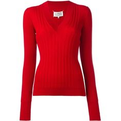 Maison Margiela ribbed knit jumper (€745) ❤ liked on Polyvore featuring tops, sweaters, red, slim fit v neck sweater, long sleeve v neck sweater, red long sleeve top, v neck jumper and v-neck tops