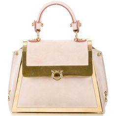 Pre-owned Salvatore Ferragamo 2017 Mini Sofia Bag ($775) ❤ liked on Polyvore featuring bags, handbags, pink, suede purse, kiss-lock handbags, locking purse, mini handbags and salvatore ferragamo handbags