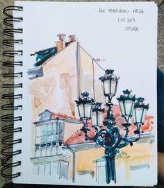 margashova  watercolor @marga_shova в Instagram: «La Cuesta - San Frantzisko Kalea - Vitoria Gasteiz  ••• #watercolour #urbansketch #акварель…»