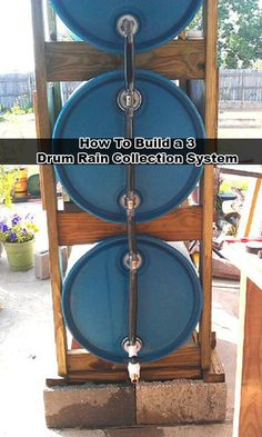 How To Build a 3 Drum Rain Collection System Read HERE --- > http://www.livinggreenandfrugally.com/how-to-build-a-3-drum-rain-collection-system/