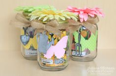 Juliana here with you today to share a spring themed project using the new SRM Stickers Patterned Vinyl. Patterned Vinyl, Mason Jars, Creations, Stickers, Spring, Projects, Decor, Recycling, Preschool