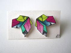 COLOURSLASH GEOMETRIC earrings // unique handdrawn by AnneTranholm