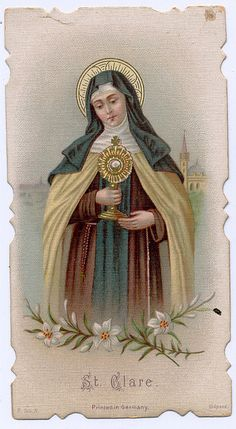 St. Clare of Assisi helps with clarity, understanding, eye disease, good weather, telegraphs, telephones, television, drug or alcohol problems, protection from astral attack