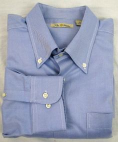 Peter Millar Oxford Dress Shirt Classic Blue Size XL Men's