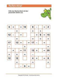 Rechnen Lernen Grundschule Add and Subtract up to 20 -puzzle for Class Mental Maths Worksheets, Math Addition Worksheets, Maths Puzzles, Math Activities, Math For Kids, Fun Math, Kindergarten Math, Teaching Math, Math School
