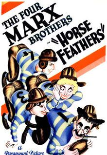 Horse Feathers (1932), the Marx Brothers farce about college football.  It stars the four Marx Brothers (Groucho, Chico, Harpo and Zeppo) and Thelma Todd.