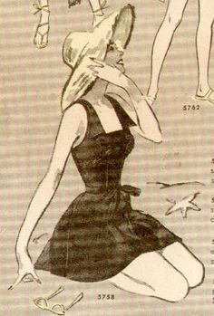 Butterick 5758, 1951. The kind of swimsuit that looks equally wonderful in or out of water.