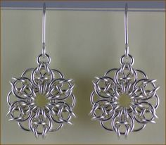 Celtic Mandala Chain Maille Earrings - chain maille