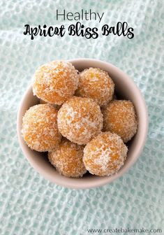 Healthy Snacks Apricot Bliss Balls Recipe - Thermomix and Regular instructions included - This easy Apricot Bliss Ball recipe is the perfect snack, is great for parties and is also freezer friendly. Thermomix instructions also included. Gourmet Recipes, Sweet Recipes, Snack Recipes, Dessert Recipes, Cooking Recipes, Thermomix Recipes Healthy, Baby Recipes, Cooking Videos, Lunch Snacks