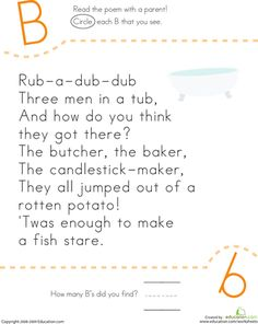 Worksheets: Find the Letter B: Rub-a-Dub-Dub.  Up to 10 free printables a month with a free sign up.  Paying members have the ability to print more.