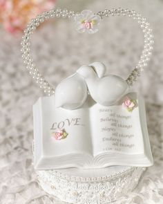 Wedding Collectibles Love Verse Bible Cake Topper with Doves and Flower Accents: Base Color: WHITE Bible Cake, Wedding Ceremony Readings, Wedding Crafts, Wedding Ideas, Wedding Planning, Wedding Inspiration, Rose Cake, Decorating Tools, Cake Toppings