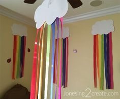 Love the idea of making rainbow clouds out of white paper and streamers. So cheap and easy for a rainbow birthday party! Love the idea of making rainbow clouds out of white paper and streamers. So cheap and easy for a rainbow birthday party! Rainbow Unicorn Party, Rainbow Birthday Party, Rainbow Theme, Unicorn Party Decor, Rainbow Party Decorations, Rainbow Parties, Birthday Party Decorations, Halloween Decorations, Birthday Ideas