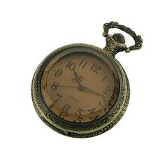 New Mens Stainless Steel Case White Dial Amber Front Antique Pocket Watch with Chain $20.99
