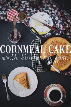 Cornmeal Cake With Blueberry Jam | I made a cornmeal cake and dotted it with some blueberry jam before baking. It was good, light and simple. @Julie Craig