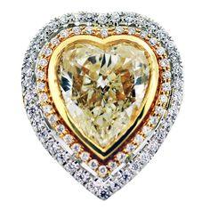 Fancy Yellow Diamond Heart Shape Ring in White/Yellow Gold Setting Heart Shaped Rings, Heart Shaped Diamond, Heart Ring, Heart Engagement Rings, Colored Diamonds, Yellow Diamonds, Love Ring, Heart Art, Vintage Diamond
