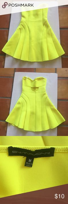 Symphony neon yellow great Neon yellow strapless dress with flare. Back cut out. Dress was worn once. Inside has signs of use Symphony Dresses Strapless