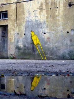 Graffiti .....leaning man