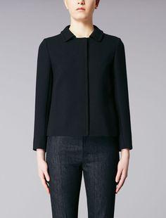 Wool crêpe jacket, black - MAESTA Max Mara