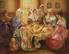 "LDS Art - Women of Church History by Lynde Mott ~ ""Quilting Bee"" Amische Quilts, Illustrations Vintage, Art Du Fil, Lds Art, Images Vintage, Bee Images, Hans Christian, Sewing Art, Sewing Rooms"