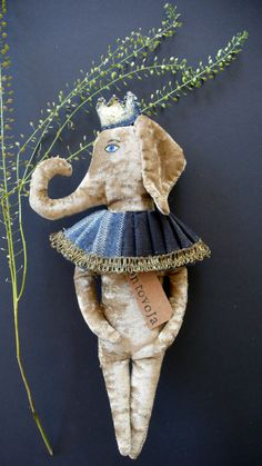 Little Balthazar the elephant velvet art doll soft sculpture figurine textile art