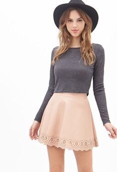 FOREVER 21 Scalloped Faux Leather Skirt is on sale now for - 25 % !/cute.Wanna wear this with black yoga pants