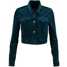 J Brand Faye cotton-blend velvet jacket (£180) ❤ liked on Polyvore featuring dark green and j brand