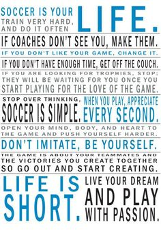 Soccer Is Your Life Manifesto Print by 11vEleven on Etsy, $22.00 Soccer Quotes #Soccer #Quotes