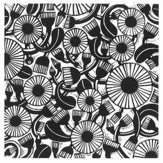 Helen Roddie ~ Deco Daisy ~ Linocut, 150 x 150 mm
