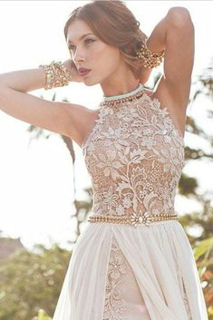 A-line Sexy High Neck Lace Bodice Beach Wedding Dress,Ivory Chiffon Prom Dress OK220