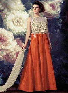 Orange Beige Embroidery Work Tapeta Silk Designer Anarkali Suit        #Anarkali #Churidar #Pakistani #Suit #Salwar #Bollywood       http://www.angelnx.com/Salwar-Kameez