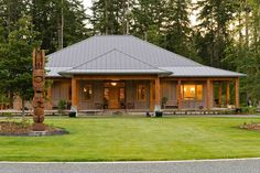 A custom Arts & Craft home with a Charles Dickey inspired roofline and lanai patios, this home featu Metal Barn Homes, Metal Building Homes, Pole Barn Homes, Building A House, Porte Cochere, Barn House Plans, Dream House Plans, Lanai Patio, Ranch Style Homes