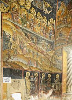 Frescos en las paredes de la zona de entrada, Monasterio de Cozia, región de Oltenia, Pequeña Valaquia, Rumania, Europa