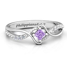 """Sterling Silver """"Espiral"""" Princess cut Ring with Accents and Amethyst Swarovski Zirconia Stone #jewlr"""