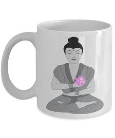 Buddha Mug - Buddhist Monk Statue with Lotus- Decorative Buddha Coffee Mug for Peace of Mind - 11oz